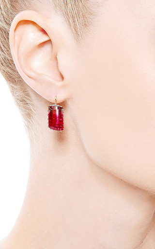One Of A Kind Watermelon Tourmaline Earrings by RENEE LEWIS for Preorder on Moda Operandi