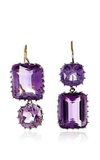 Medium renee lewis purple alternating rectangle amethyst earrings