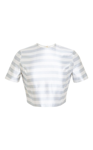 Medium katie ermilio off white striped corset seamed tee