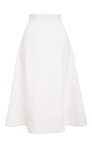 Medium katie ermilio white seamed stretch jersey swing skirt