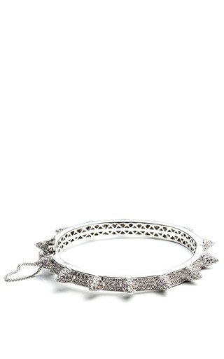 Medium eddie borgo silver pave cone hinged bangle 2