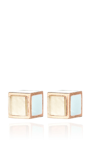 Medium eddie borgo pink inlaid cube stud earring 2