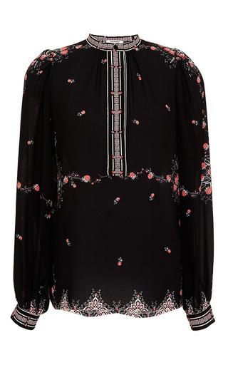 Medium vilshenko ivory veronica black raspberry border print silk blouse