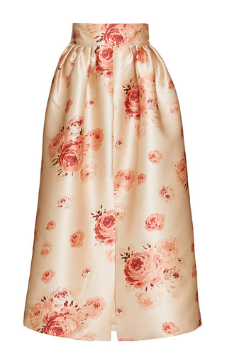 Medium vilshenko print reda rose duchess satin skirt 2