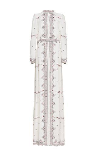 Medium vilshenko white florence raspberry print silk column dress