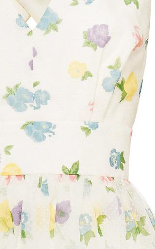 Florentina Floral Flock Print Cross Back Dress by VILSHENKO for Preorder on Moda Operandi
