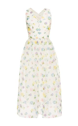 Medium vilshenko multi florentina floral flock print cross back dress