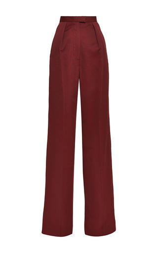 Lydia Garnet Wide Leg Cotton Pant by VILSHENKO for Preorder on Moda Operandi