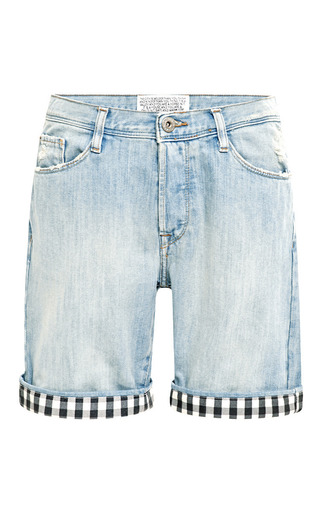 Gingham Trimmed Denim Shorts by EACH X OTHER Now Available on Moda Operandi