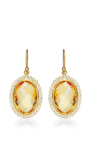 Medium kothari yellow oval citrine earrings