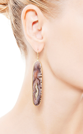 One Of A Kind Botswana Drop Agate Earrings by KOTHARI for Preorder on Moda Operandi