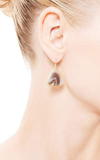 One Of A Kind Botswana Agate Earrings by KOTHARI for Preorder on Moda Operandi