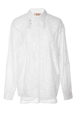 Medium no 21 white costanza shirt in white floral stripes