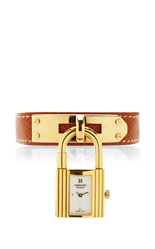 Medium portero brown hermes kelly watch in brown