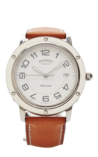 Medium portero brown hermes clipper watch with leather band