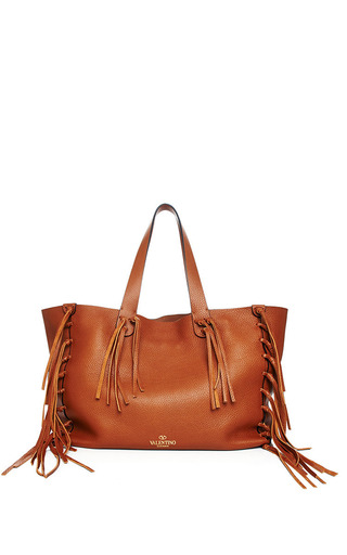 Medium valentino brown light cuir vitello fringe tote 2