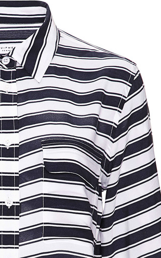 Admiral Stripe Crepe De Chine Slim Signature Shirt by EQUIPMENT Now Available on Moda Operandi