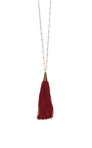 Medium eddie borgo burgundy small silk tassel pendant 2