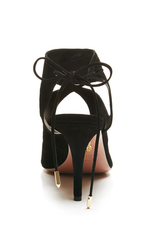 Sexy Thing Lace Up Suede Sandals In Black by AQUAZZURA Now Available on Moda Operandi
