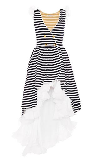Medium natasha zinko multi midi striped dress with gold buttons