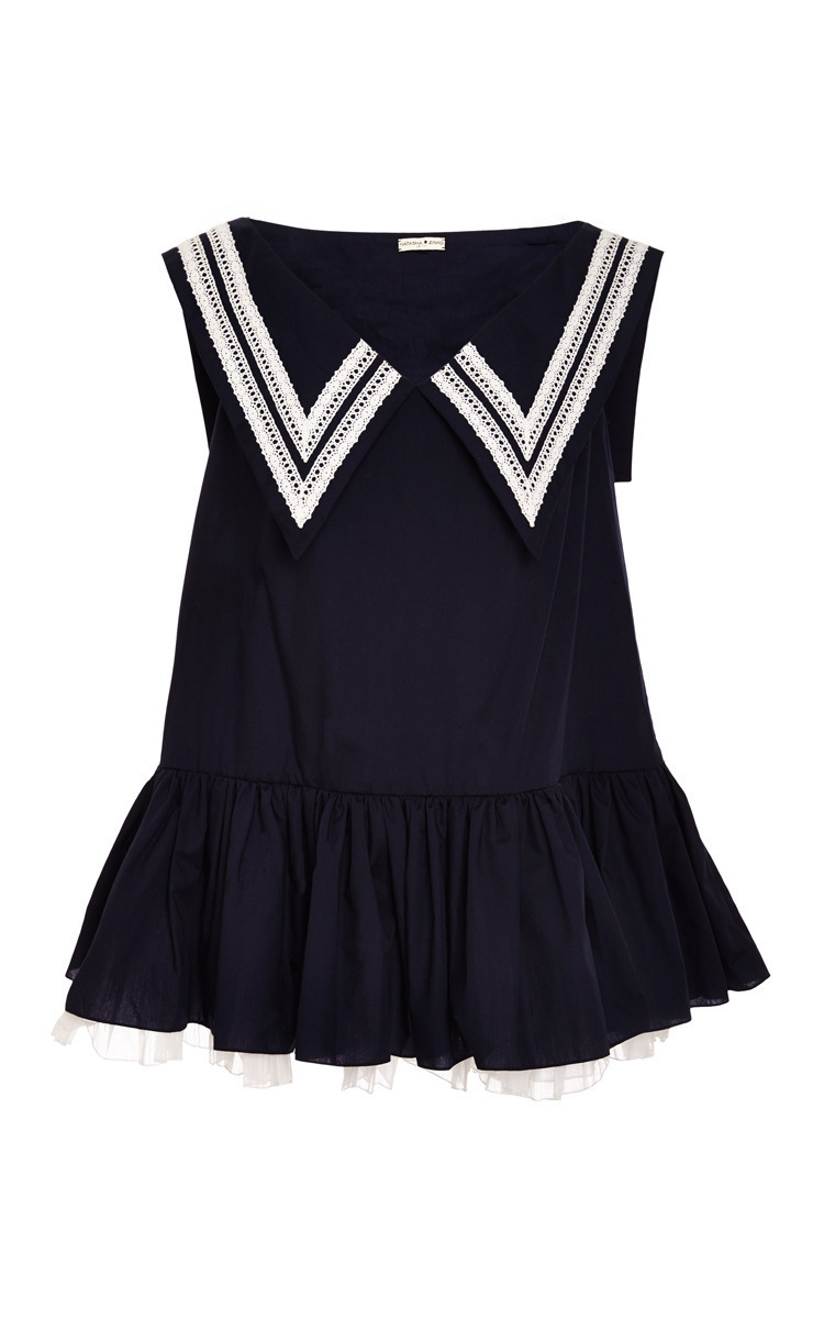 Navy blue dress with navy collar by natasha zinko moda operandi blue dress with navy collar close loading ombrellifo Image collections
