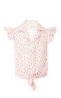 Pink Striped With Florals Blouse by NATASHA ZINKO Now Available on Moda Operandi