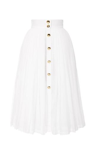 Medium natasha zinko multi midi linen pleated skirt with gold buttons