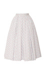 Midi Cotton Striped With Florals Skirt by NATASHA ZINKO Now Available on Moda Operandi