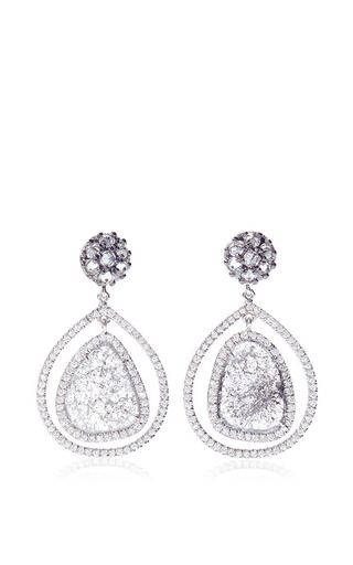 One Of A Kind Swinging Diamond Slice Earrings by SUSAN FOSTER for Preorder on Moda Operandi