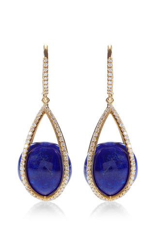 Medium susan foster gold cage lapis earrings