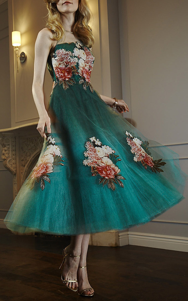 Botanic Print On Tulle Midi Gown With Applique Florals