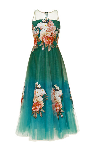 Medium sachin babi multi botanic print on tulle midi gown with applique florals and illusion neckline