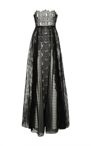 Medium sachin babi black scalloped lace strapless gown with cascading lace and scallop details