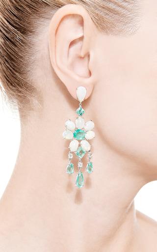 18 K White Gold, Emerald, White Opal And Diamond Earrings by NINA RUNSDORF Now Available on Moda Operandi