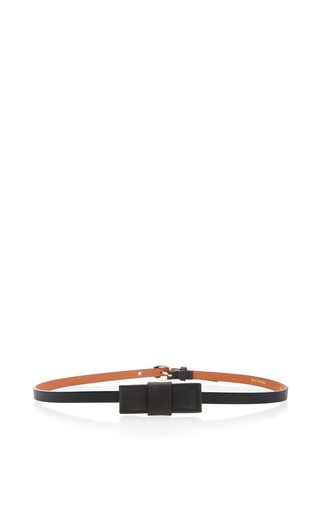 Medium maison boinet black 10mm belt with a 20mm bow