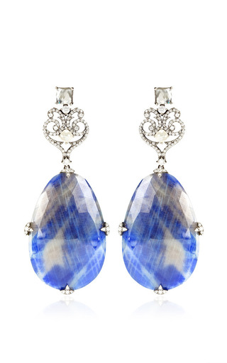 Medium bochic black sapphire and diamond earrings