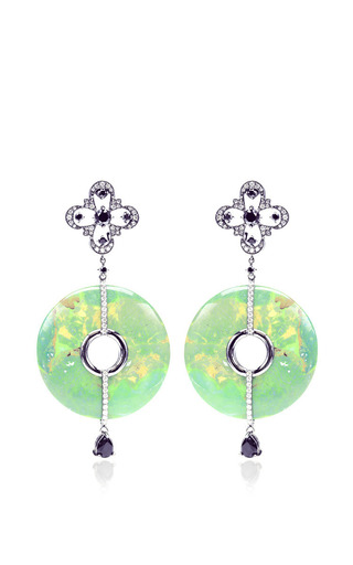 Green Turquoise And Diamond Earrings by BOCHIC for Preorder on Moda Operandi