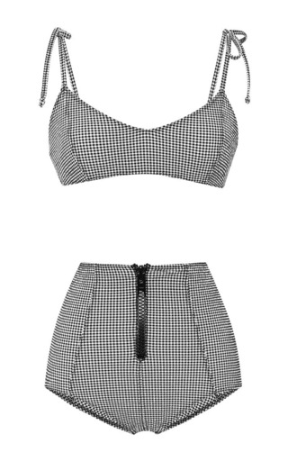 Medium lisa marie fernandez multi nicole zip high waist bikini in black and white