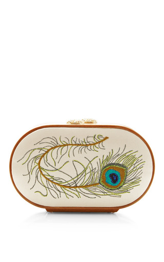 Medium katrin langer brown katrin langer cream beige peacock feather embroidered oval bag 2