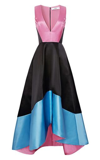 Medium prabal gurung multi doubleface satin v neck gown 2