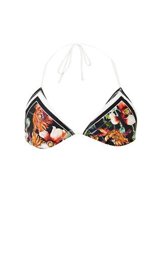 Medium clover canyon multi floral garden scarf triangle bikini top