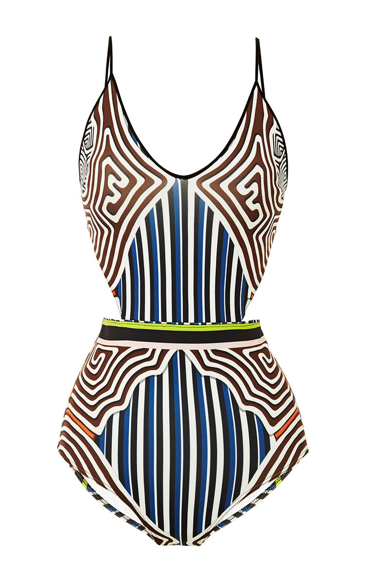 19c8519bb2 Striped Labyrinth Cut Out Swimsuit by Clover Canyon   Moda Operandi