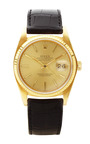 Vintage Rolex 18 K Yellow Gold Datejust With Black Alligator Band by CMT FINE WATCH AND JEWELRY ADVISORS for Preorder on Moda Operandi