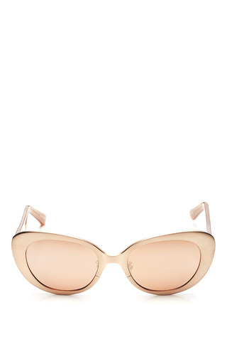 Medium linda farrow gold linda farrow brushed rose gold with rose lens sunglasses