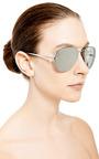 White Gold Plated Aviator Sunglasses by LINDA FARROW Now Available on Moda Operandi