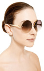 Round Frame Metal Sunglasses by LINDA FARROW Now Available on Moda Operandi