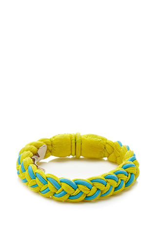 Roarke Nyc Sole Bracelet In Yellow With Blue Stripe by ROARKE NYC for Preorder on Moda Operandi
