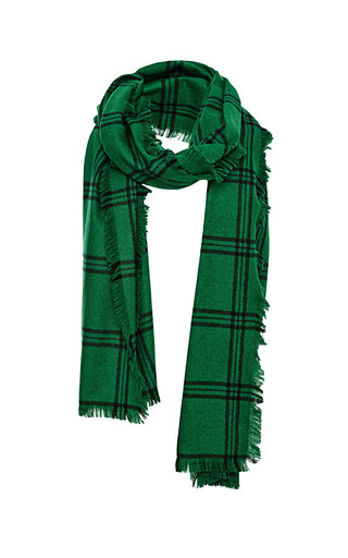 Medium tibi green plaid fringe scarf 2