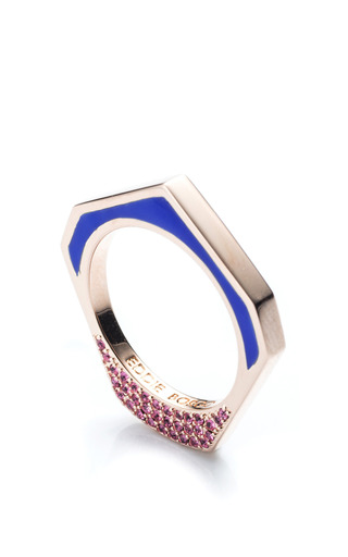Medium eddie borgo blue hexagon tuareg ring in blue 2
