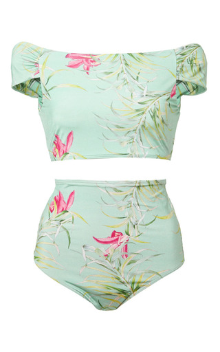 Medium adriana degreas green tropical floral print retro bikini
